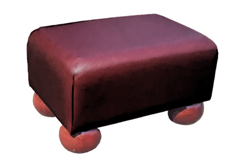 Luxury Upholstered Small Footstool in Rosehip Faux Leather with Dark Bun Feet