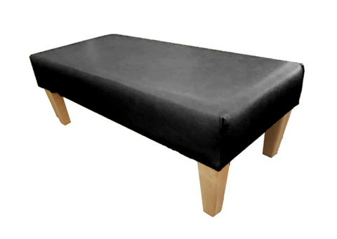 Luxury Upholstered Long Footstool in Aged Black Leather with Light Contemporary Legs - Footstools Direct