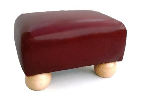 Small Rosehip Faux Leather Footstool with Natural Bun Feet