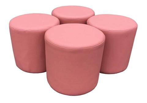 Four Ice Pink Faux Leather Drum Stools For The Price Of Three