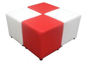 Cube Seating Red and White Collection - Footstools Direct