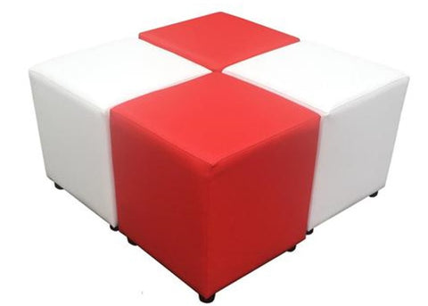 Red and White Cube Seating Combo - Footstools Direct