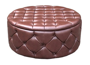 Luxury Upholstered Large Round Buttoned Storage Ottoman in Aged Dark Brown Leather - Footstools Direct