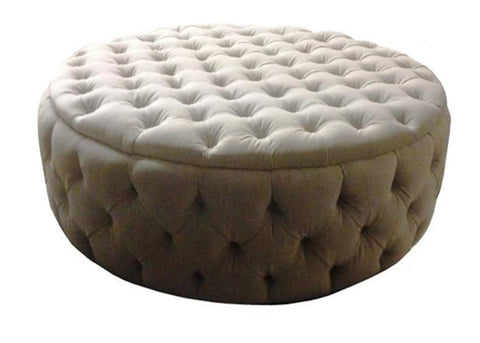 Luxury Upholstered Large Round Buttoned Storage Ottoman in Dove Velvet Fabric - Footstools Direct