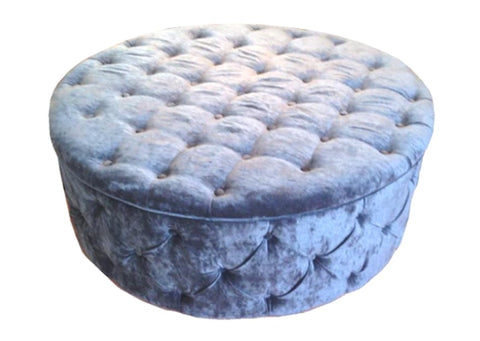 Luxury Upholstered Large Round Buttoned Storage Ottoman in Navy Velvet Fabric - Footstools Direct