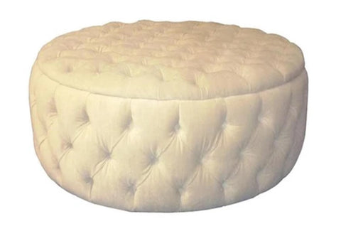 Luxury Upholstered Large Round Buttoned Storage Ottoman in Pearl Velvet Fabric - Footstools Direct