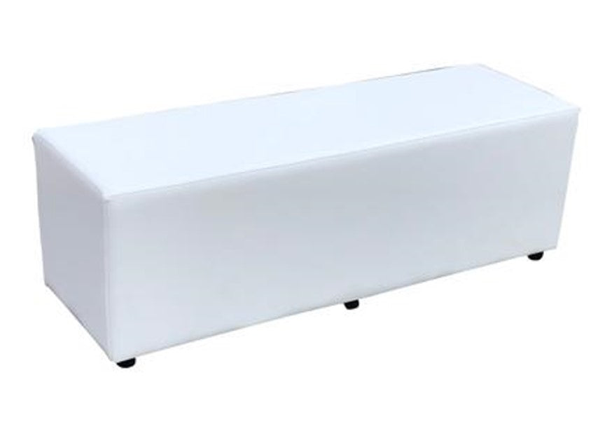 Cube Triple Seating in Luxury White Faux Leather - Footstools Direct
