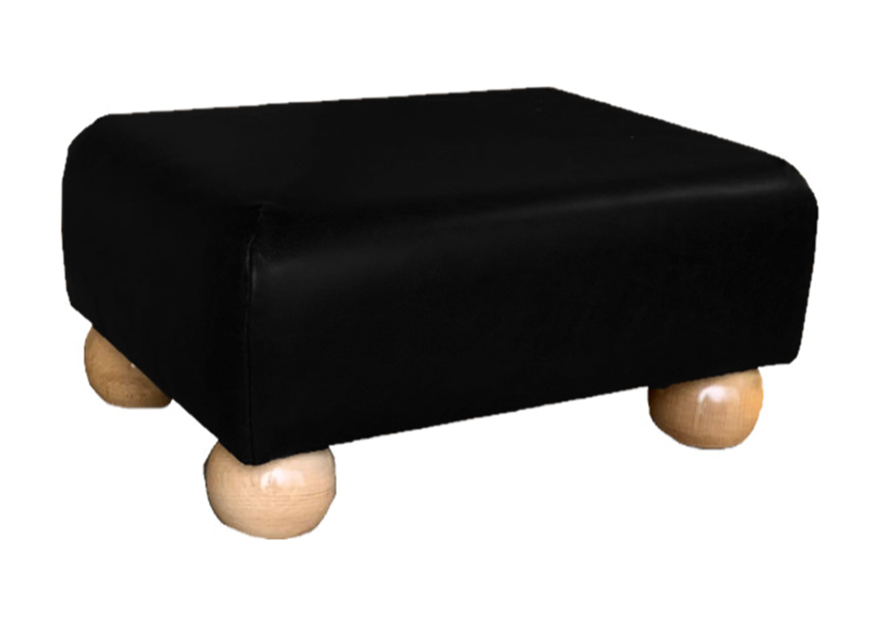 Aged Black Leather Footstool with Natural Bun Feet