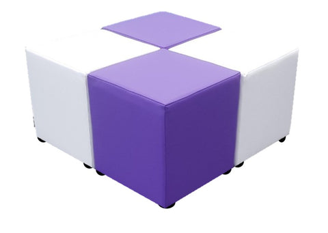 Cube Seating Purple and White Collection - Footstools Direct