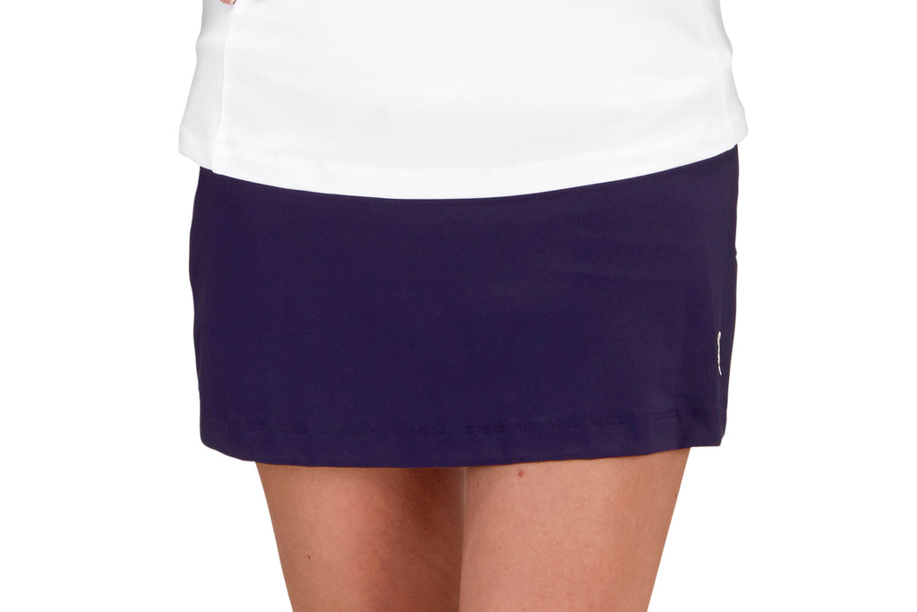 "Womens ""Ace"" Tennis Skirt (Navy with Chevron or Stripe Back Pleats)"