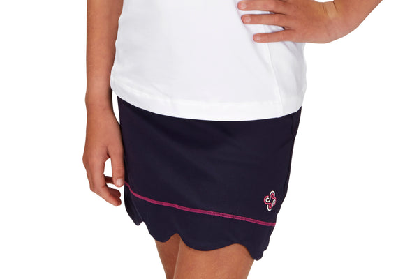 "Girls ""Birdie"" Scallop Golf Skirt (Navy)"