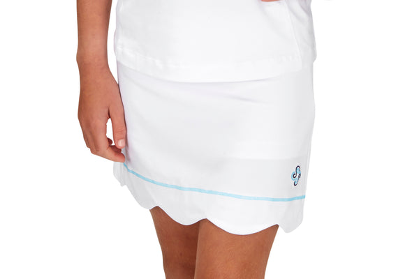 "Girls ""Birdie"" Scallop Golf Skirt (White)"