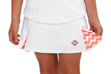 "Girls ""Deuce"" Tennis Skirt (White & Orange)"
