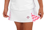 "Girls ""Deuce"" Tennis Skirt (White & Pink)"