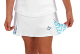 "Girls ""Deuce"" Tennis Skirt (White & Turquoise)"