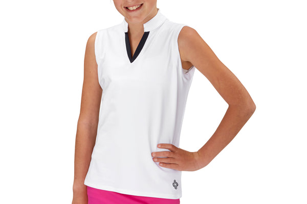 "Girls Sleeveless ""Court"" Performance Top (White)          (more color options available)"