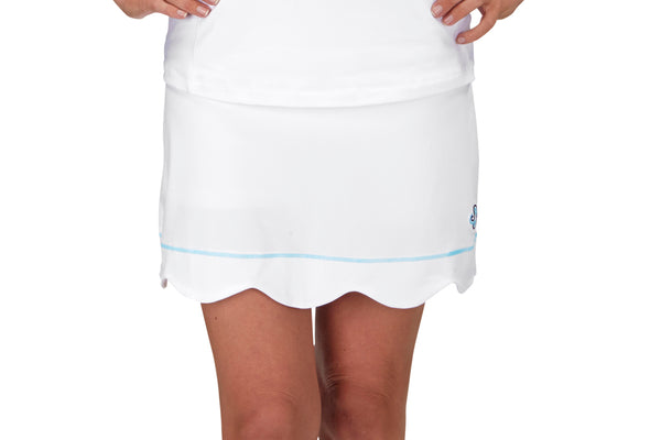 "Womens ""Grand Slam"" Scallop Tennis Skirt (White with Turquoise or Navy Stitching)"
