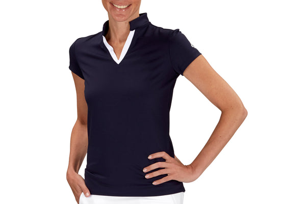 "Womens Collared ""Course"" Performance Top (Navy)"