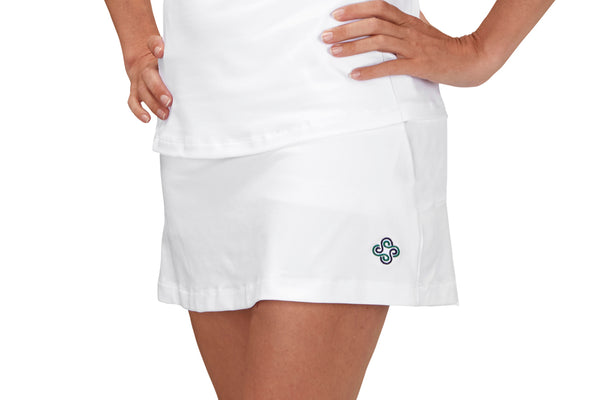 "Womens ""Ace"" Tennis Skirt (White with Navy or Pink Chevron or Navy Stripe Back Pleats)"