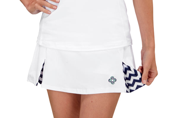 "Womens ""Deuce"" Tennis Skirt (White & Navy)"