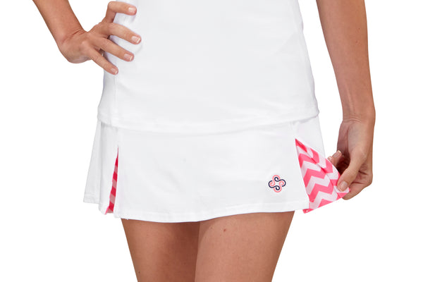"Womens ""Deuce"" Tennis Skirt (White & Pink)"