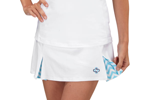 "Womens ""Deuce"" Tennis Skirt (White & Turquoise)"