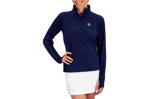 Womens 1/4 Zip Performance Top (Navy)