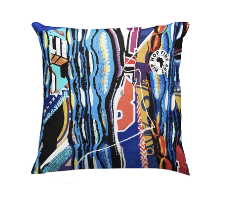 Boogi Blue by Hip Hop Fine Art, Designer Throw Pillow