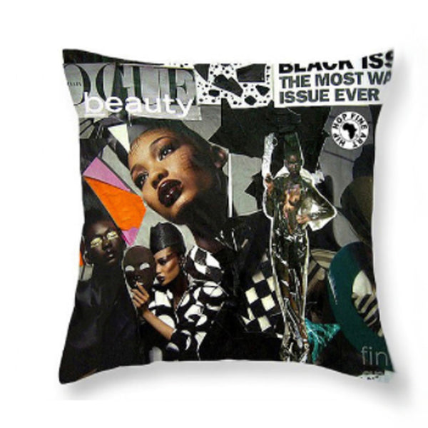 Black Vogue Fly Throw Pillow