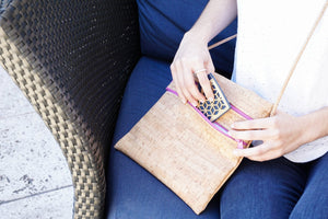 BE LIVELY 2 | Rustic cork cross-body bag sized to fit iPad mini