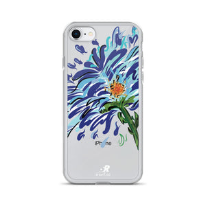 Blue Floral Illustration iPhone Case - Hand Drawn Abstract WaterFlower Design