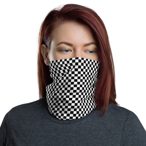 Checkerboard Face Mask Neck Gaiter (Black/White)