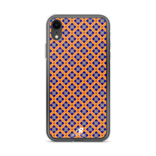 Load image into Gallery viewer, Orange Diamond Jeweled Glass Pattern iPhone Case