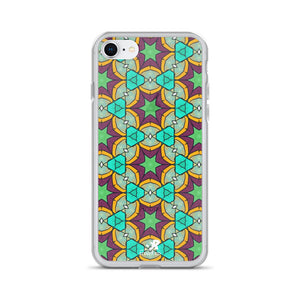 Vibrant Colorful Stained Glass Geometric Pattern iPhone Case