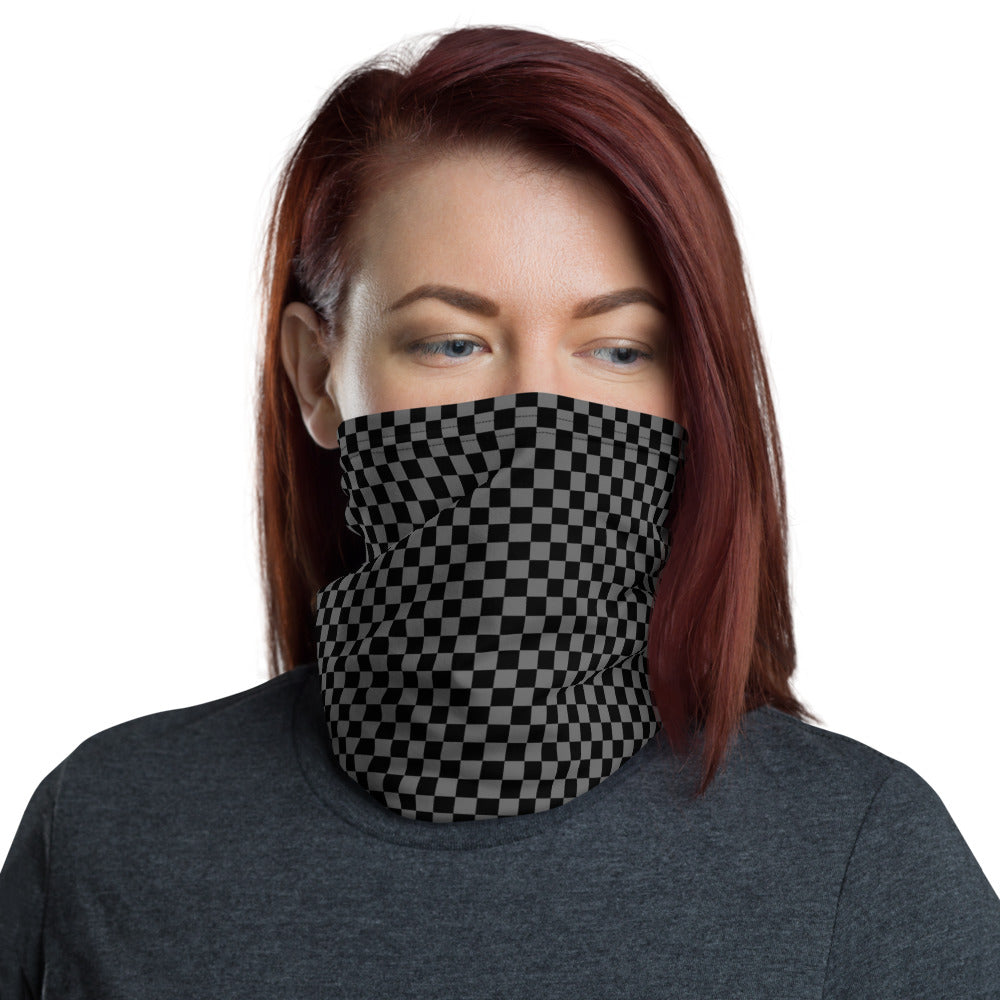 Checkerboard Face Mask / Neck Gaiter (Black/Gray)