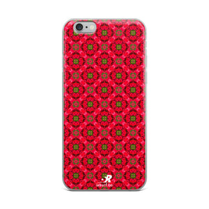 Geometric Floral Rosebud Pattern Design iPhone Case