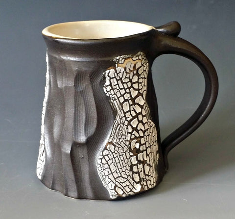 Carved Black Mug w/ Crackle Glaze
