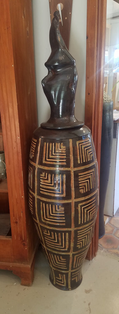 Carved Geometric Vessel
