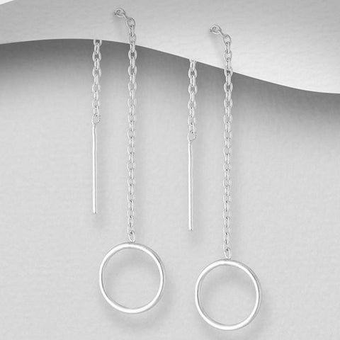 Sterling Silver Circle Thread Earrings