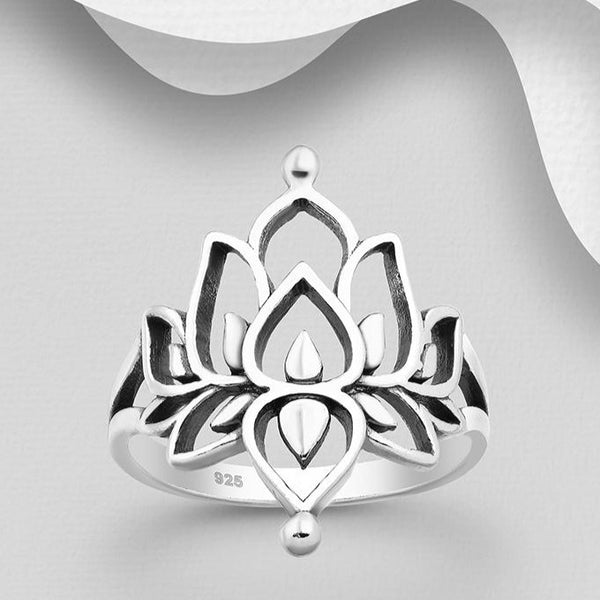 Sterling Silver Oxidized Lotus Ring
