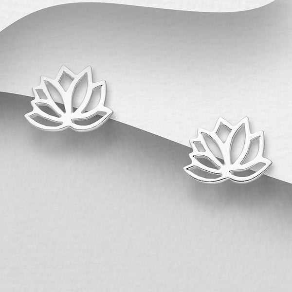 Lotus Outline Sterling Silver Stud Earrings