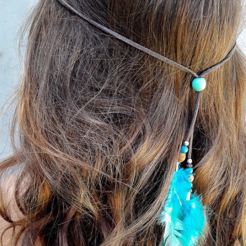 Festival Feather Headband in Blues