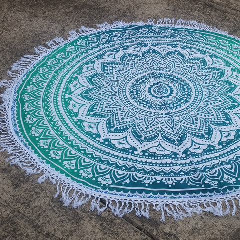Ombre Green Mandala Roundie with Tassel Fringe
