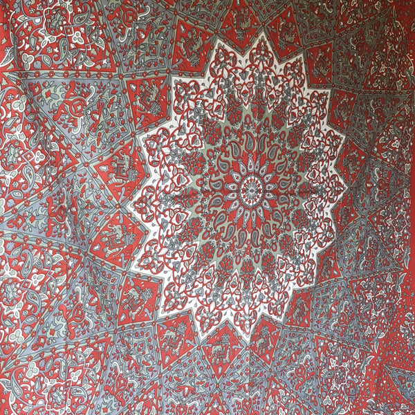 Maroon Grey Mandala Throw