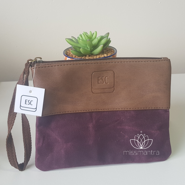 Waxed Canvas – Zip Pouch – Burgundy