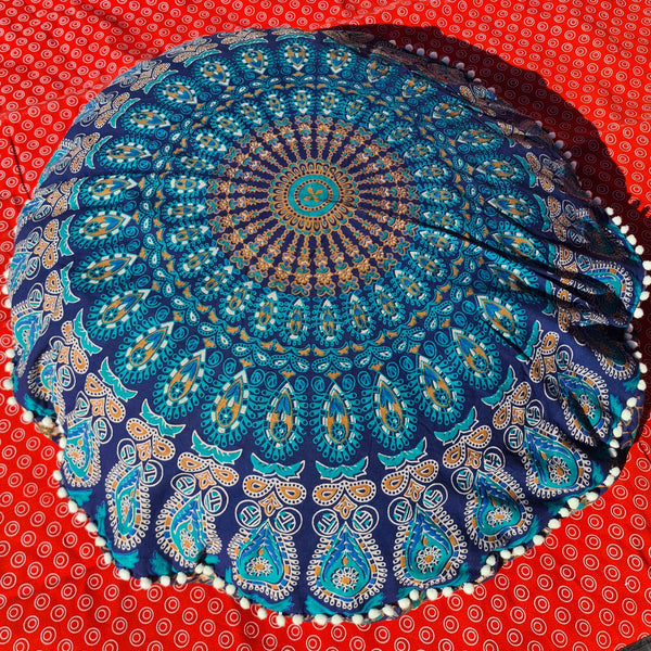 Bohemian Blue Floor Pillow Cover