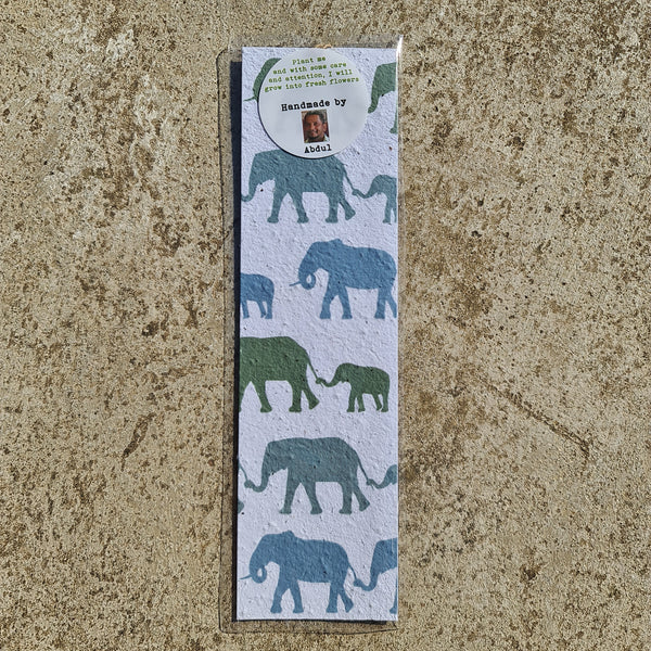 Elephants - Growing Paper Bookmark