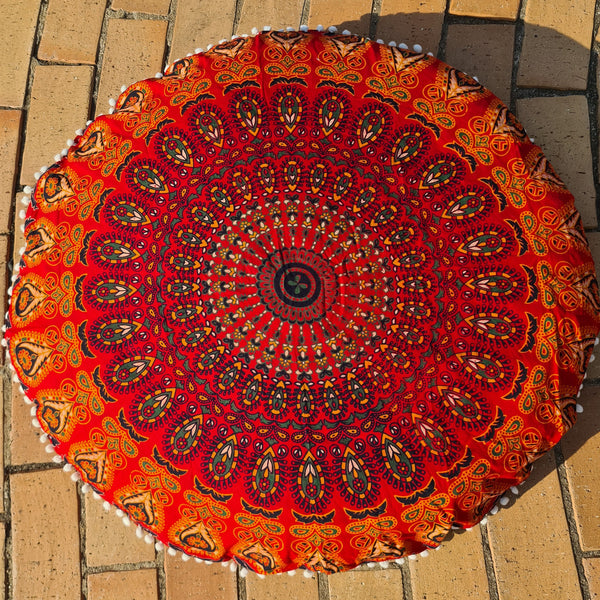 Red Blaze Floor Pillow Cover