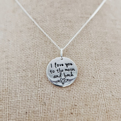"""I Love you to the Moon and back"" Sterling Silver Pendant"