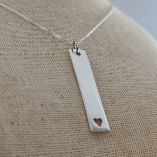 Engravable Bar Tag with Heart Sterling Silver Pendant